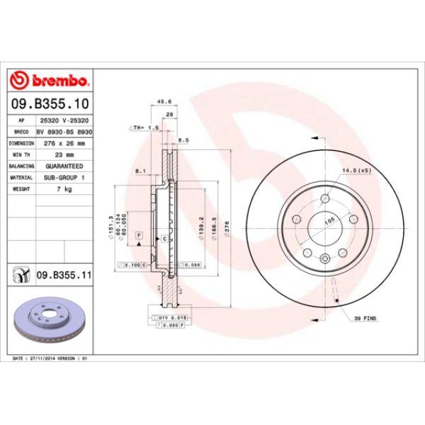 Remschijf voorzijde Brembo premium OPEL ASTRA J Sedan 1.3 CDTI