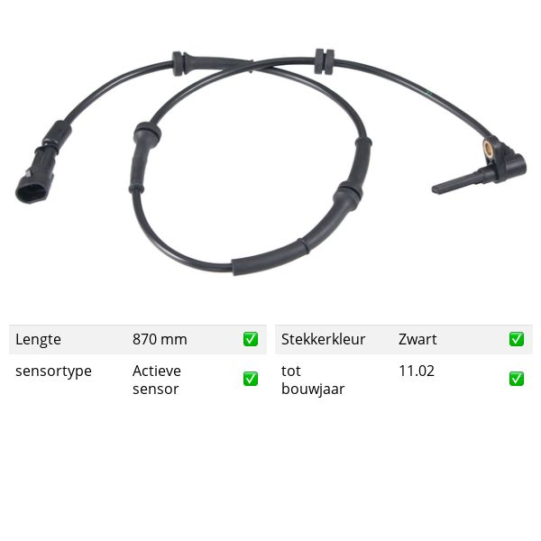 ABS-sensor voorzijde, rechts ALFA ROMEO 156 2.0 16V T.SPARK