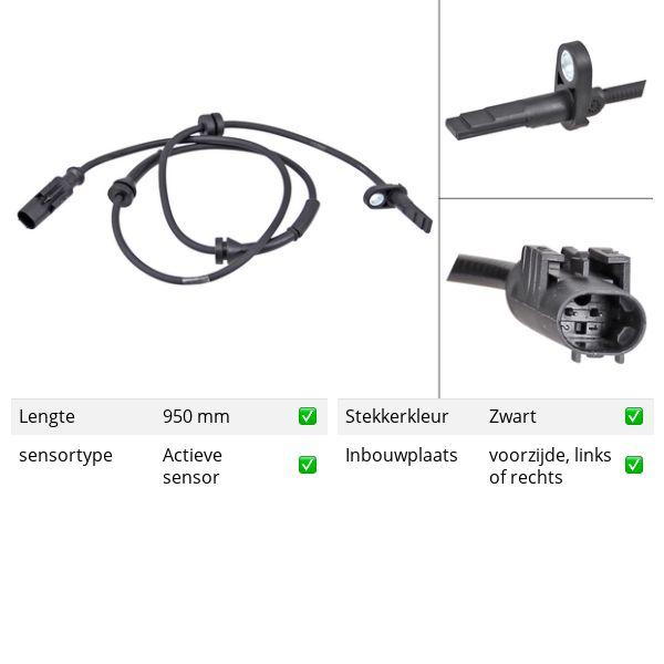 ABS-sensor voorzijde, links of rechts ALFA ROMEO SPIDER 2.0 JTDM