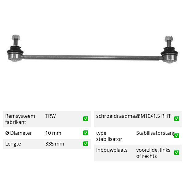 Stabilisatorstang voorzijde, links of rechts PEUGEOT 206 CC 1.6 16V